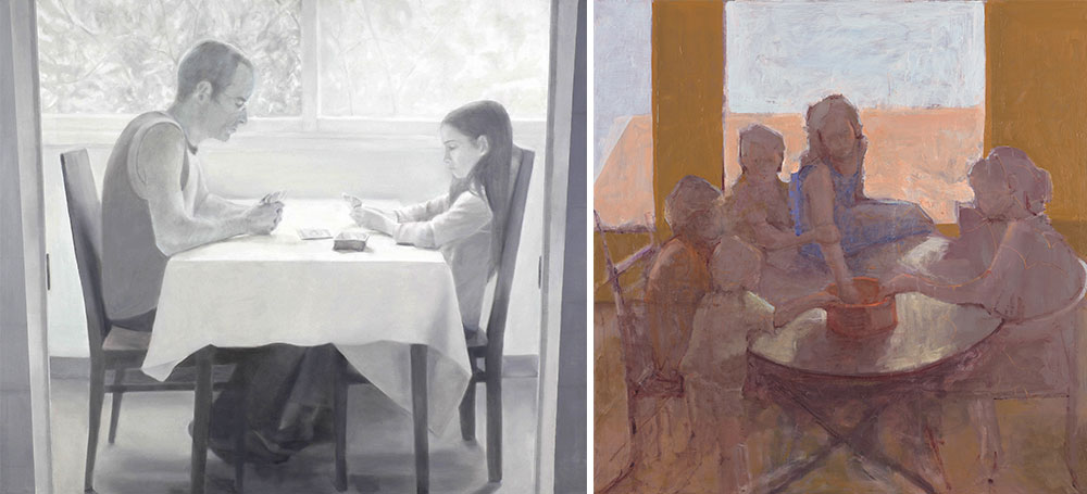 Right: Anne Ben-Or, Meeting Point, 2016, Left: Adva Karni, No Longer Always Winning, 2010, Oil on linen