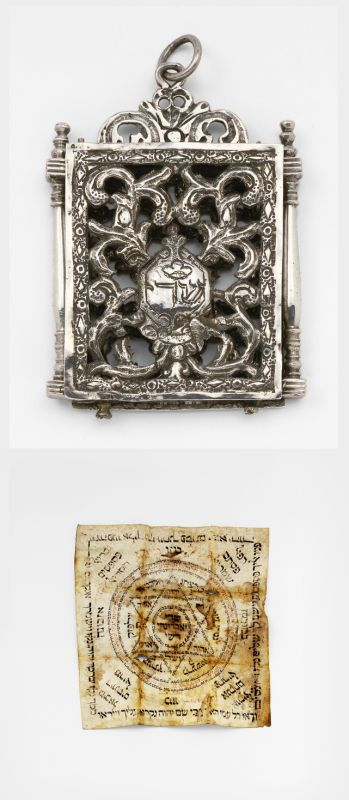 Amulet case with amulet written for the healing of the circumcised Moses Ezekiah
