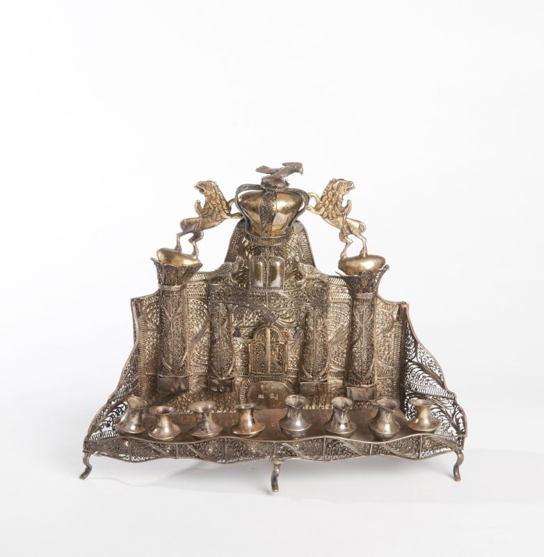 Ba'al Shem Tov Hanukkah lamp with back plate modeled after elaborate Torah ark