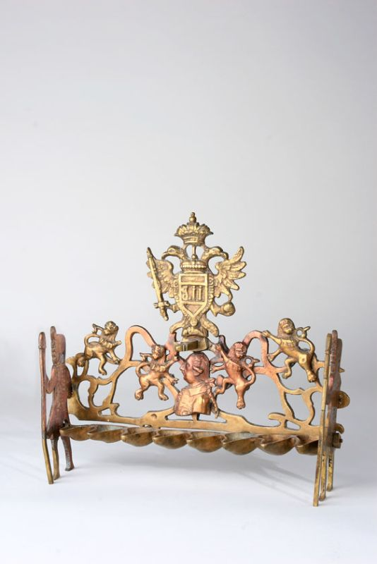 Hanukkah lamp with bust of Emperor Josef II, and emblem of Austrian Empire