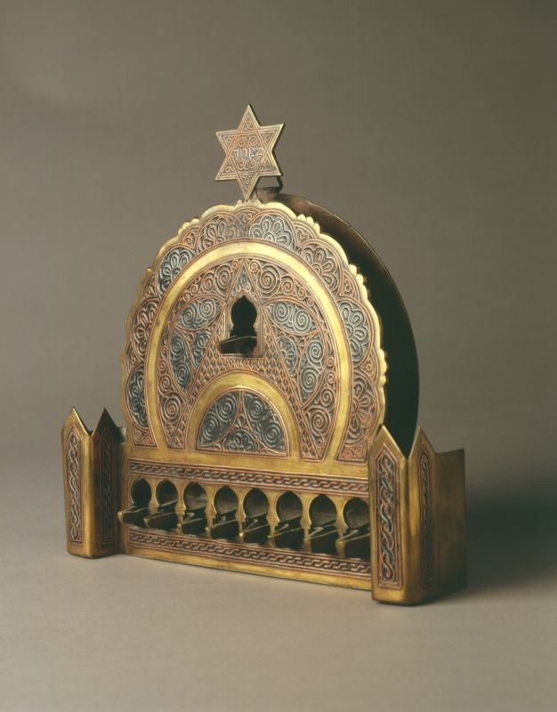 Hanukkah lamp adorned with damascene technique