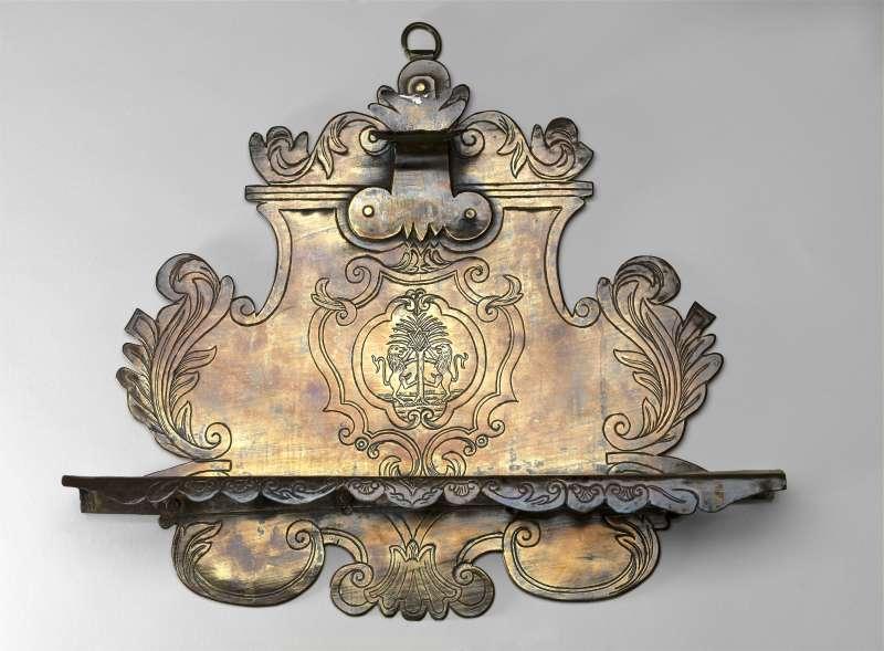 Hanukkah lamp adorned with emblem of the Foa family (renowned book printers)