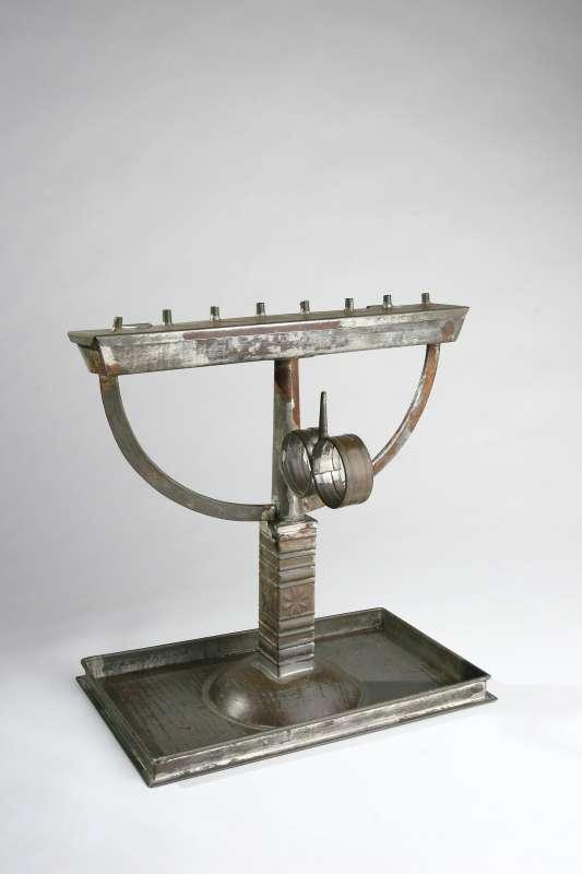 Standing tin Hanukkah lamp