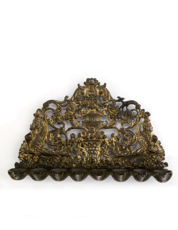 Hanukkah lamp decorated with grotesques, dragons, sphinx, and cornucopias