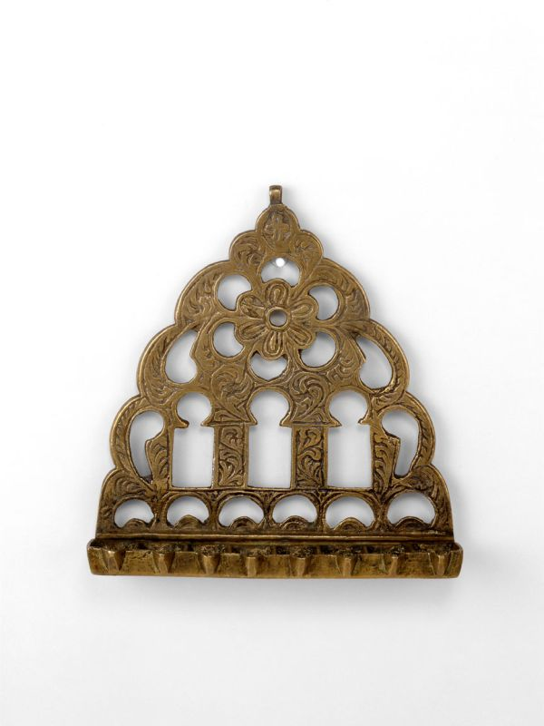 Hanukkah lamp decorated with gates and arabesques