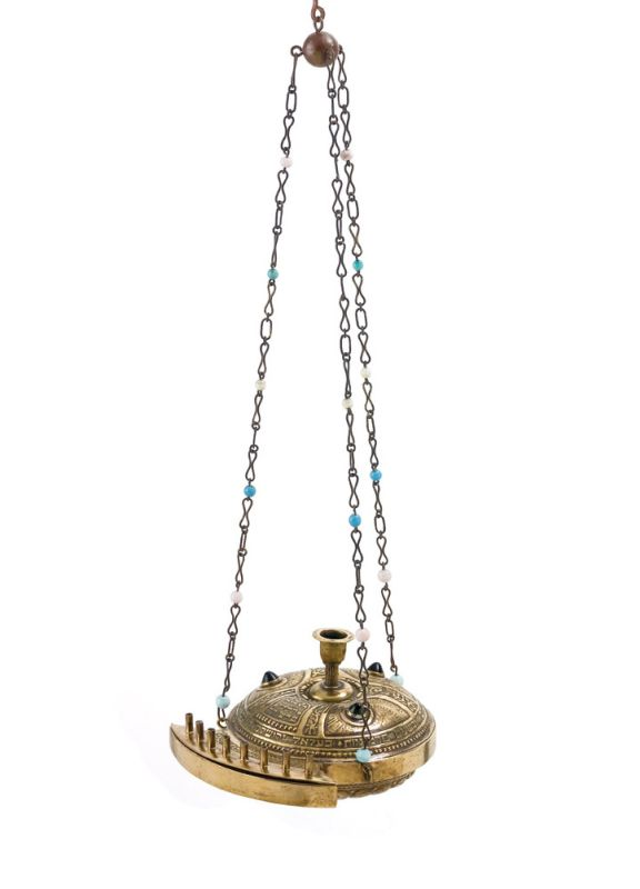 Hanging Hanukkah lamp modeled after ancient oil lamps