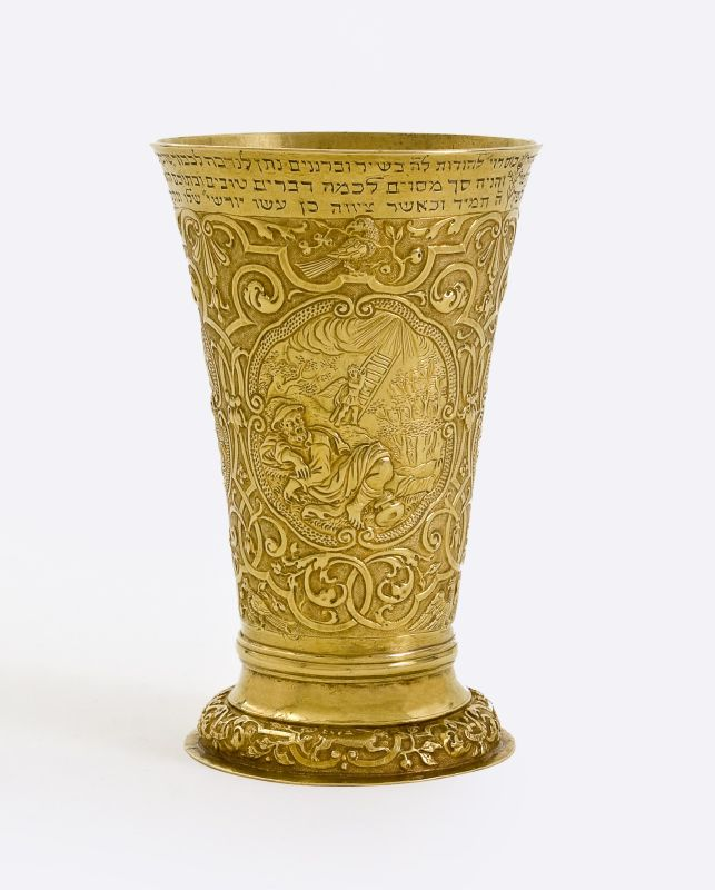 Kiddush goblet with dedicatory inscription, adorned with biblical scenes