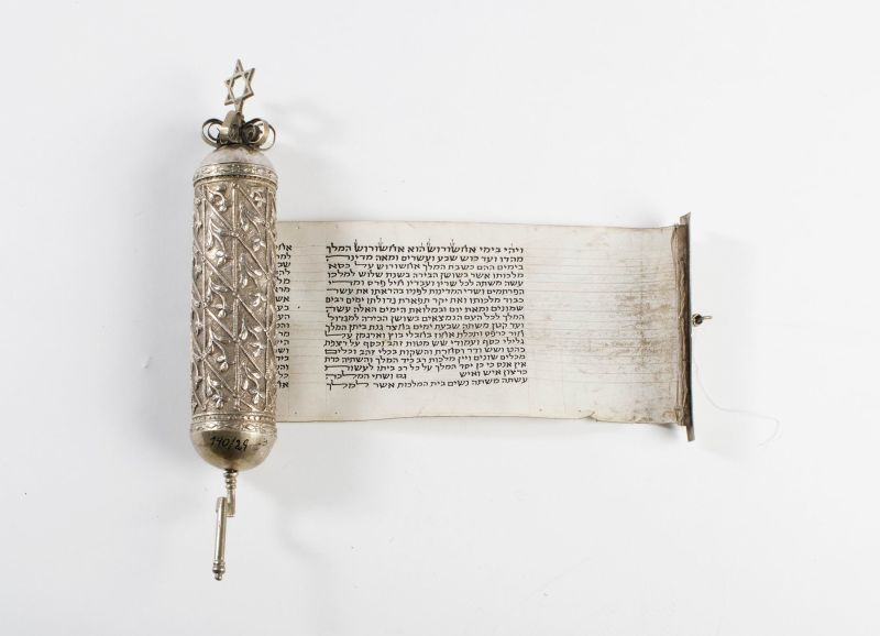 Esther scroll and case with crown surmounted by Star of David