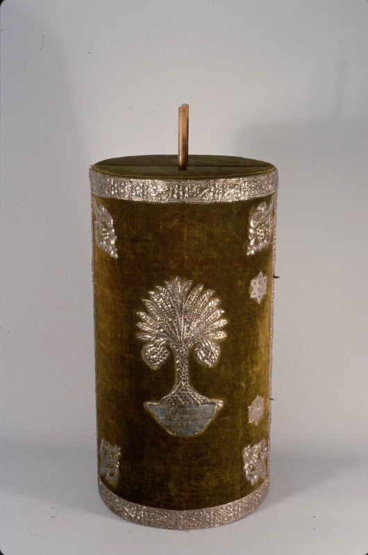 Torah scroll case decorated with a palm tree