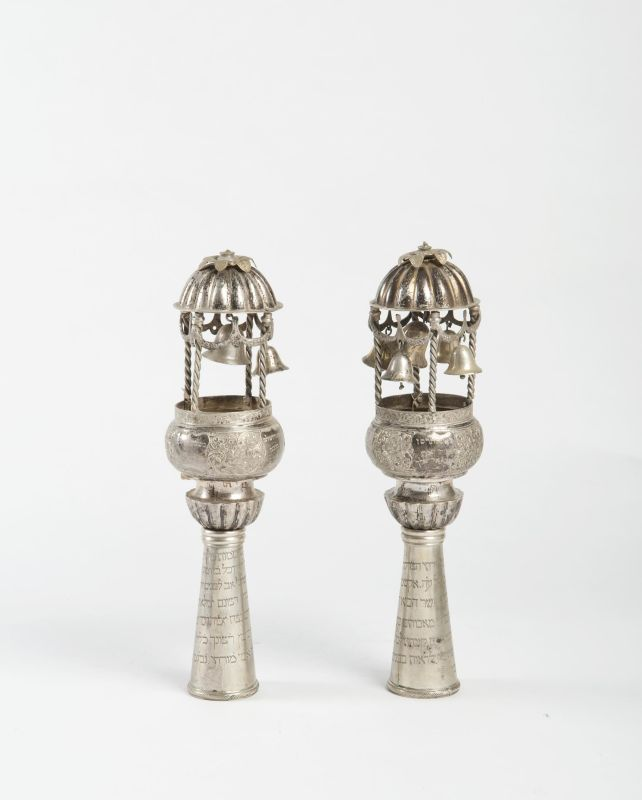 Torah finials with dedicatory inscriptions