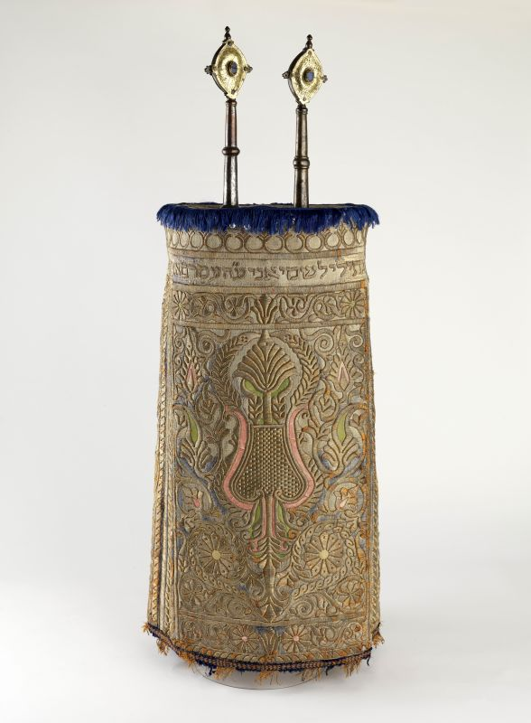 <b>Torah mantle and finials</b>