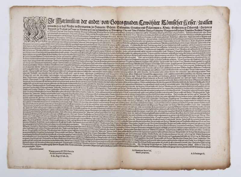 Edict by Emperor Maximilian II