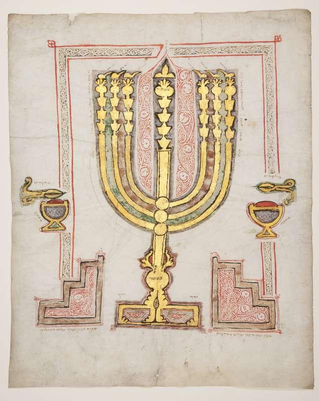 Illuminated leaf with illustration of the Menorah