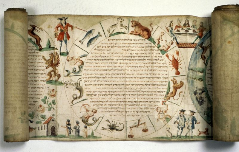Esther scroll with the wheel of the zodiac