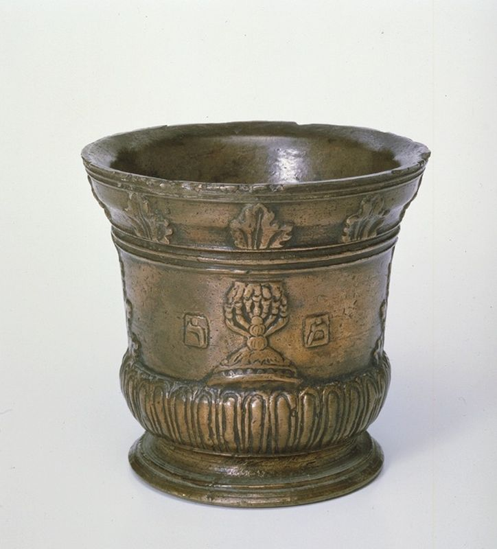Mortar decorated with seven-branched candelabrum and Hebrew letters
