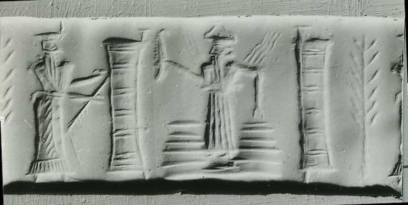 Cylinder seal depicting Shamash, the sun – god of law, justice, and divination – emerging through a pair of mountains flanked by columns, perhaps heaven's door