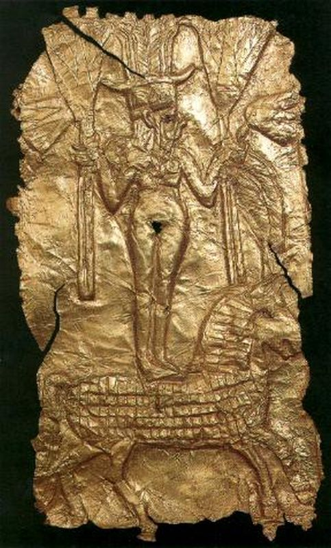 Plaque depicting a Canaanite goddess with Hathor features