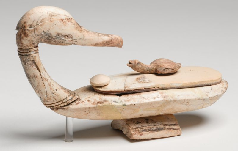 Egyptian-style duck-shaped cosmetic vessel