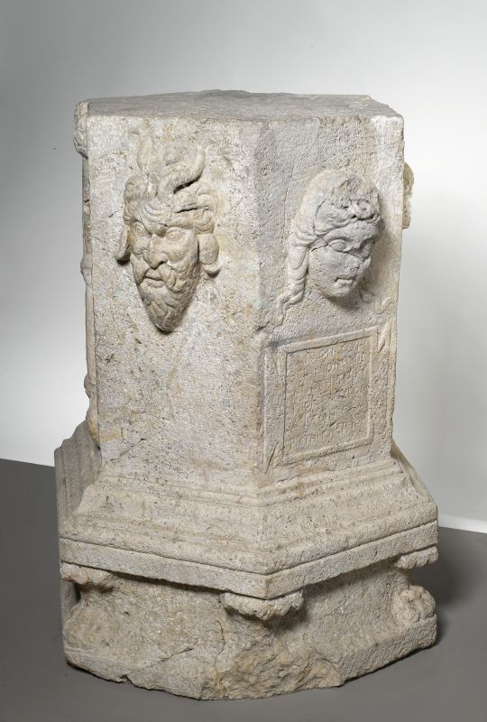 Altar to Dionysus with an inscription in Greek
