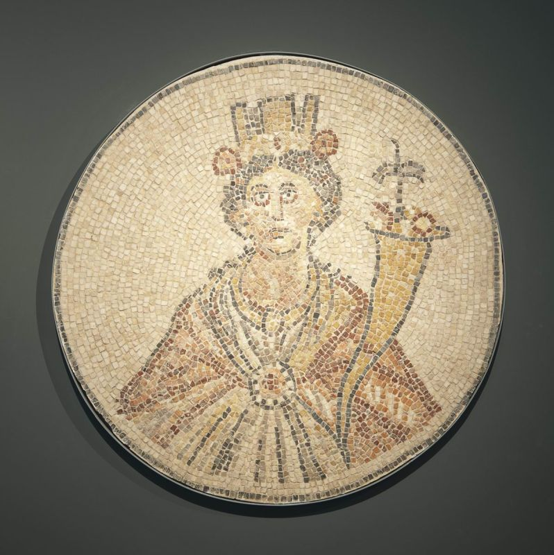 Mosaic of Tyche from a shop floor