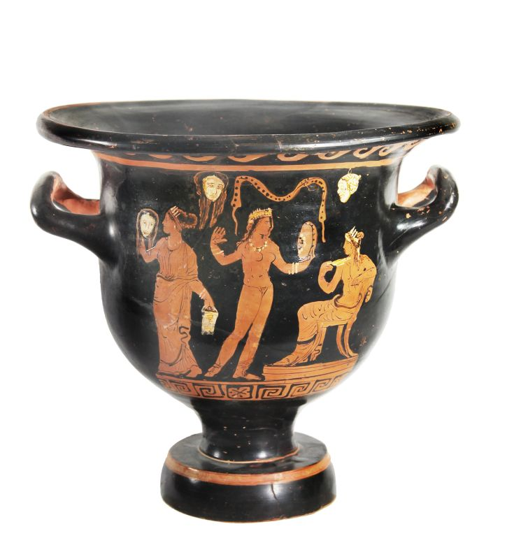 Red-figure bell krater depicting the performance of a play in the presence of Dionysos
