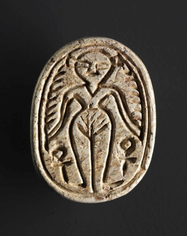 Canaanite scarab depicting a Canaanite goddess with Hathor features