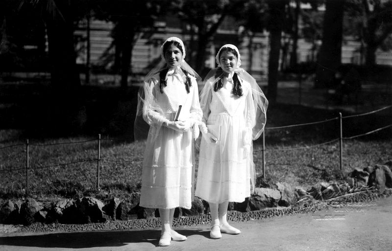 Liana and Alda Morpurgo in their Bat-Mitzvah dresses