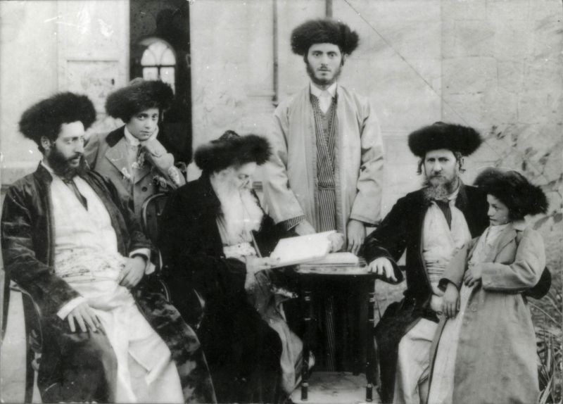 Men from the Slonim family wearing shtraymls