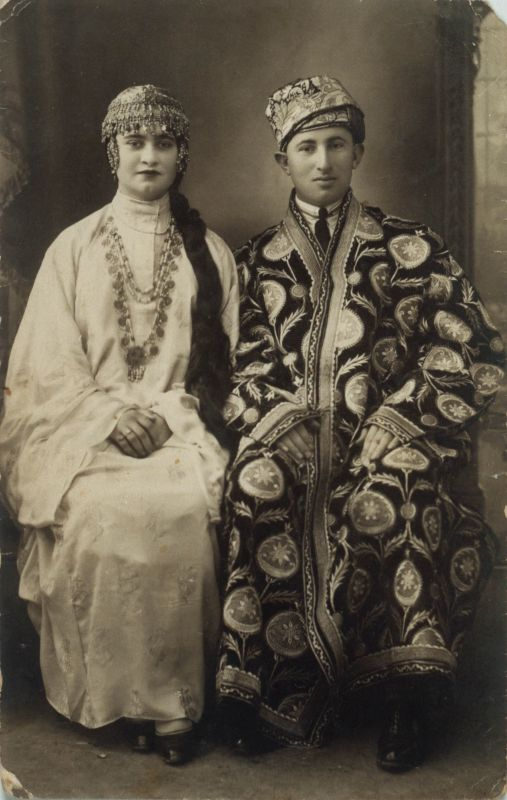 David and Rina Davidoff, after their betrothal dressed in Bukharan traditional festive attire