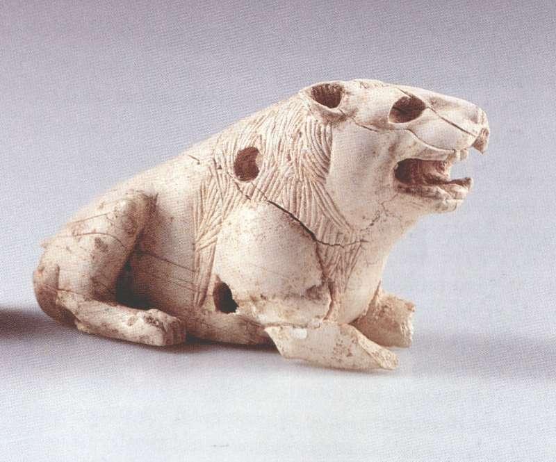 Furniture inlay: crouching lion