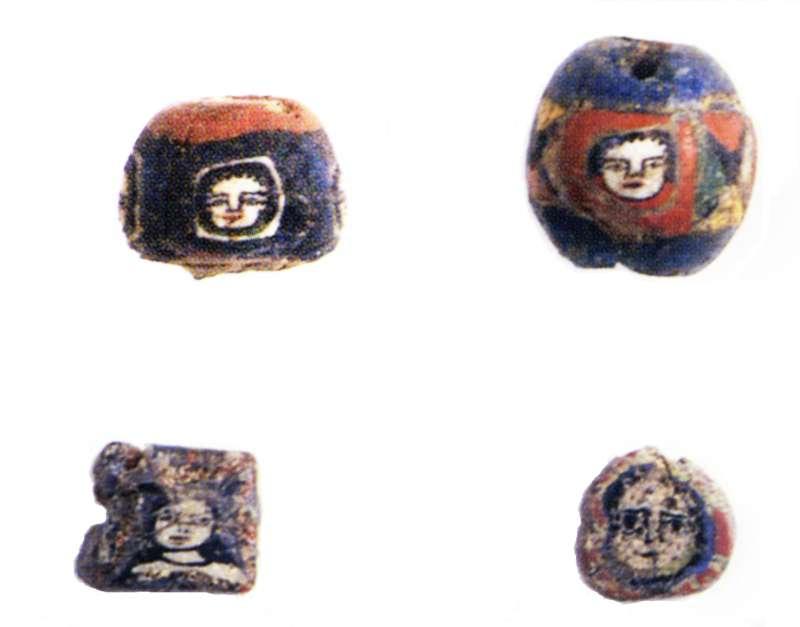 Mosaic-glass face-beads