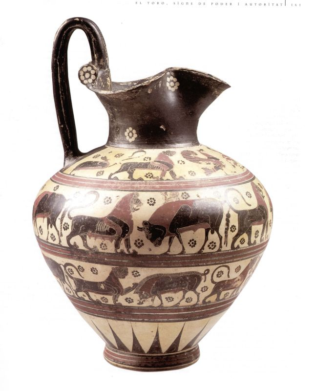 <i>Oinochoe</i> (wine jug) with trefoil mouth, depicting exotic animals and  monsters
