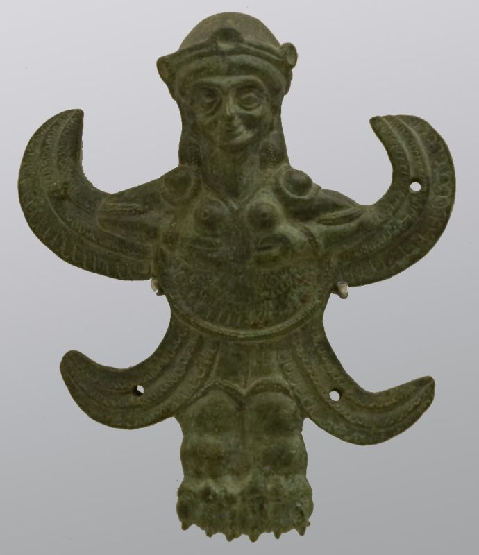 Handle attachment of a large vessel, in the shape of a winged female deity