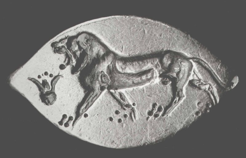 Finger ring depicting a lion