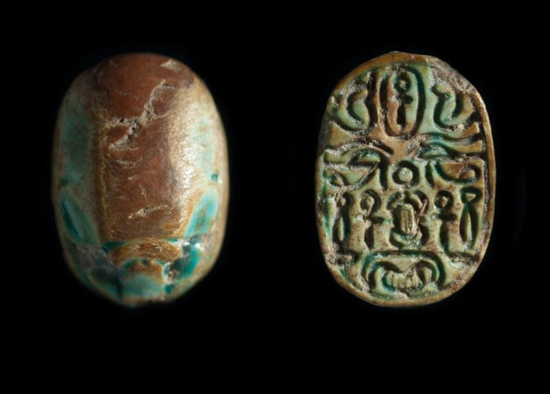 Scarab depicting a symmetric pattern of good-luck hieroglyphs