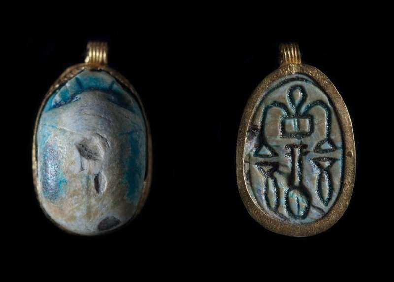 Scarab depicting a symmetric arrangement of good-luck hieroglyphs