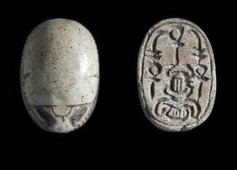 Canaanite scarab depicting a symmetric design of good-luck hieroglyphs
