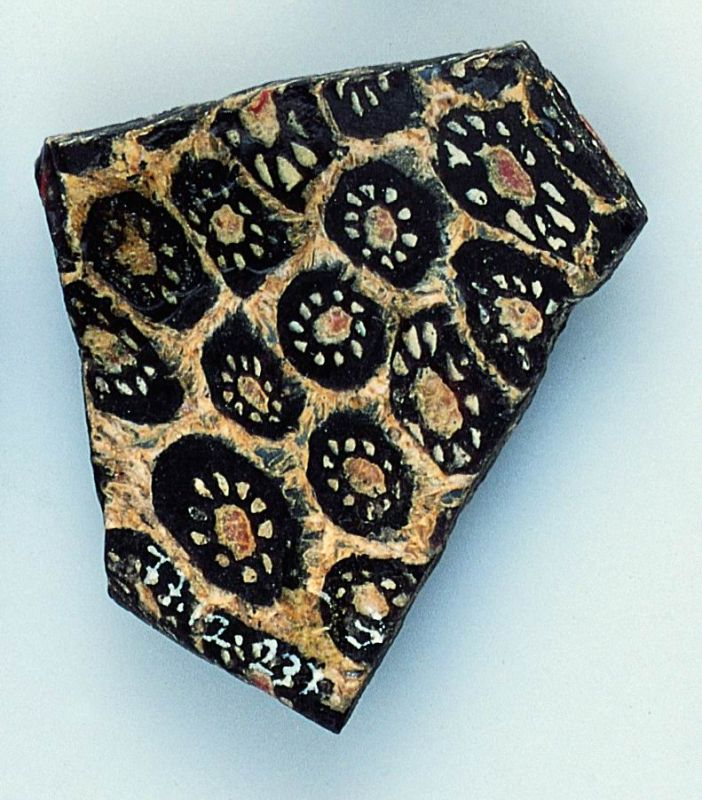 Rim fragment of mosaic-glass bowl