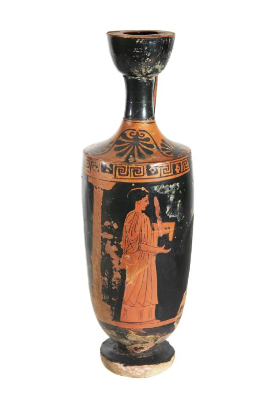 Attic red-figure lekythos (oil jar)
