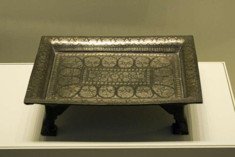 Bidri-ware tray inlaid with silver
