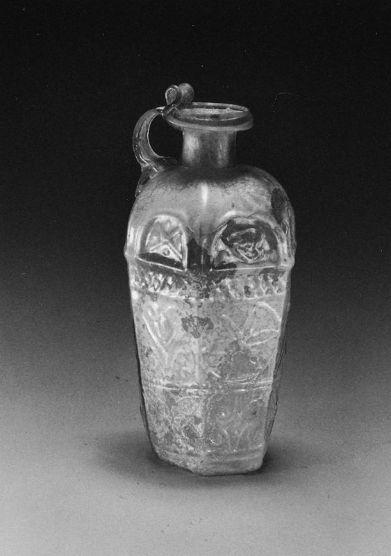 Hexagonal jug with plant motif, possibly from Ennion's workshop