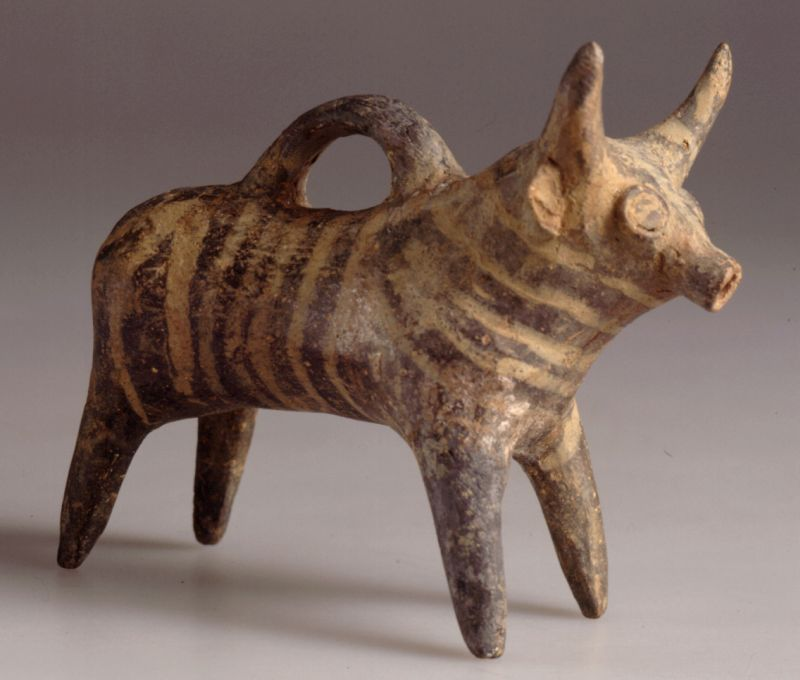Bull-shaped vessel from Cyprus, used as a rattle
