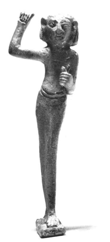 Figurine of a striking goddess, probably Anat or Astarte