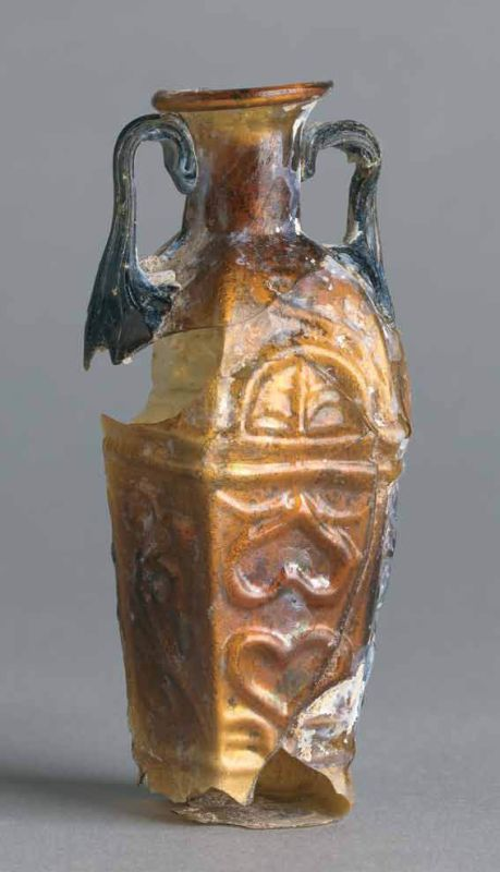 Hexagonal flask with plant motif, possibly from Ennion's workshop