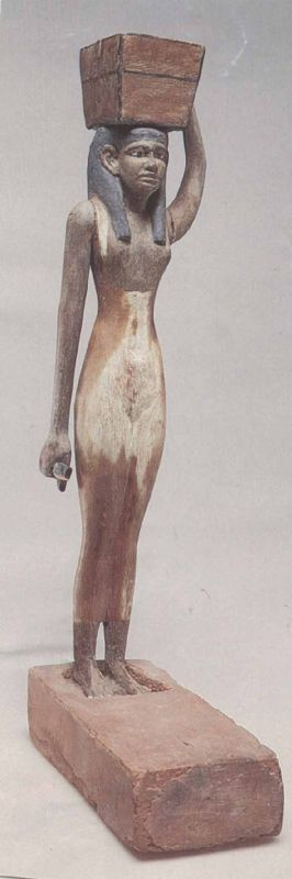 Statuette of a female offering bearer carrying a box filled with flour and holding a duck
