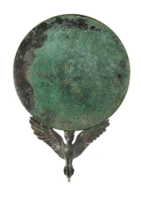 Mirror with handle in the shape of a Siren