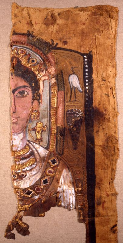 Fragmentary shroud featuring a portrait of a woman with ornate jewelry