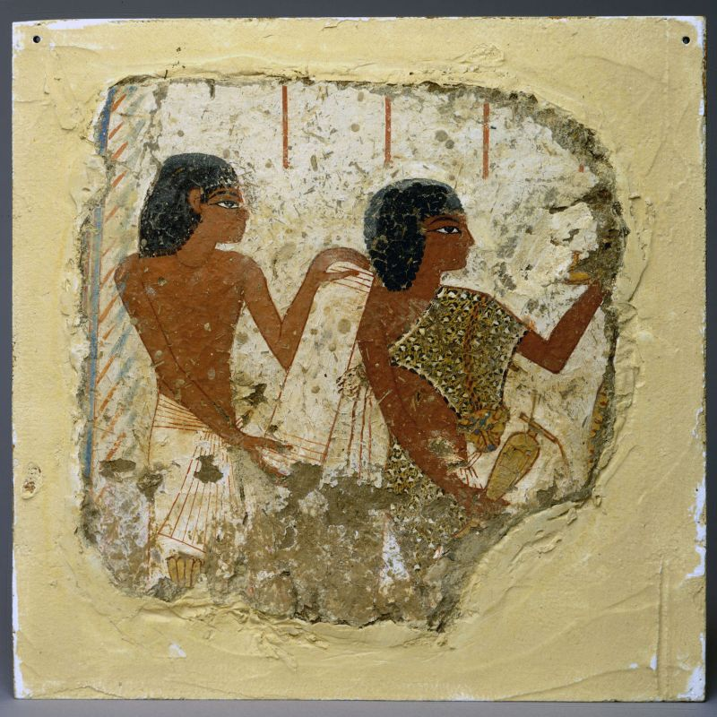 Tomb painting depicting two priests, one holding a papyrus roll and the other a vase for libations (liquid offerings)