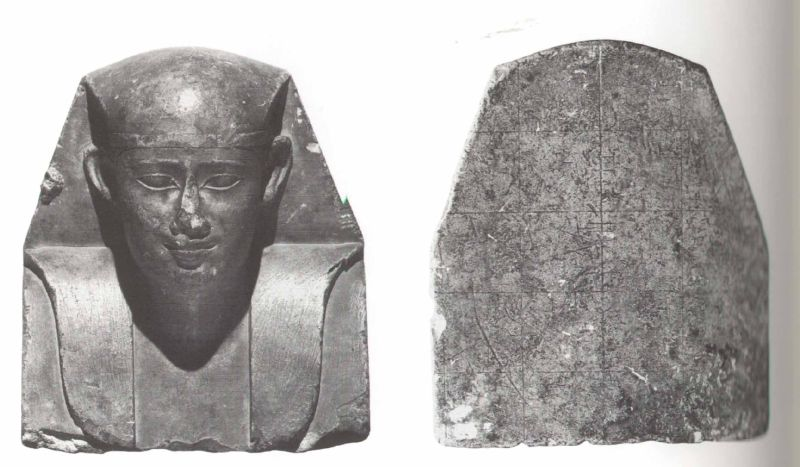 Unfinished bust of a king wearing the royal headcloth (<i> nemes </i>), a sculptor's model or a temple offering