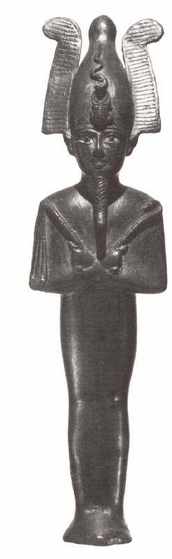 צלמית אוזיריס, מלך המתים, בדמות מומיה מחזיקה בסמלי מלכות - המטה המעוקל והשוט